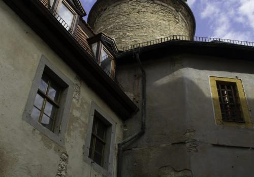 Weimar, Rundturm des Residenzschloss , davor die Bastille